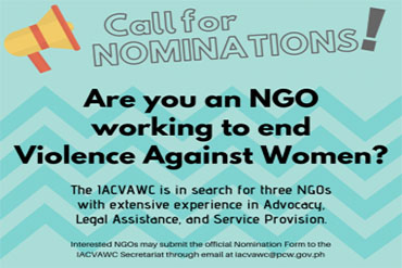 Call for Nominations for Non-government Organization (NGO) Representatives to the Inter-Agency Council on Violence Against Women and their Children (IACVAWC)