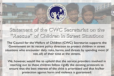 "Statement of the CWC Secretariat on the ""Rescue"" of Children in Street Situations"